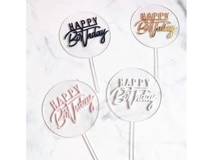 White Smoke Birthday Cake Decorations Happy Birthday Acrylic Round Transparent Card Cake Topper Baking Cake Card Party Decoration