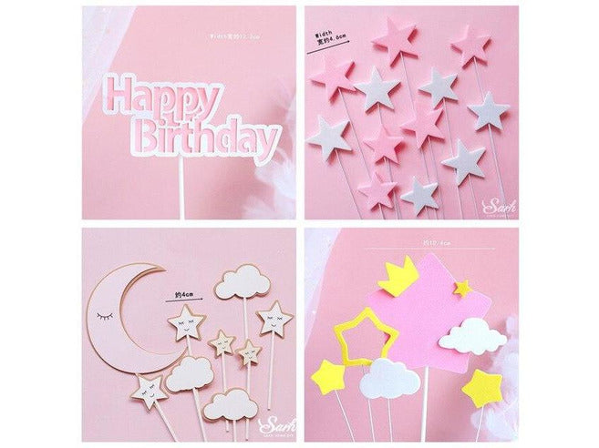 Windmill Big Pink Bow Princess Happy Birthday Cake Topper Kid Party