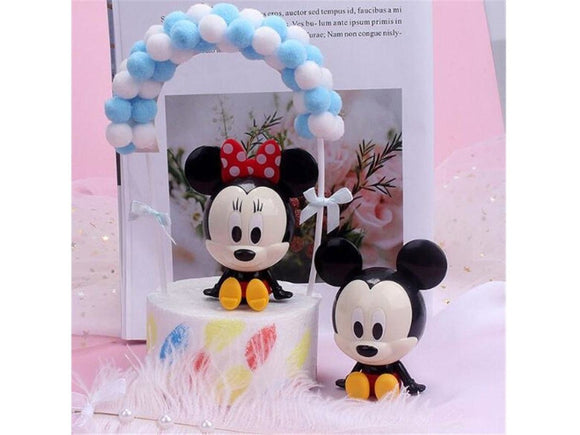 Dim Gray Disney Mickey Mouse & Minnie Happy Birthday Wedding Cake Topper Baby Shower Party