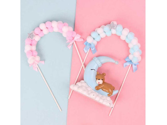 Light Pink Pink Blue Soft Clouds Cake Topper Baby Shower Celebration