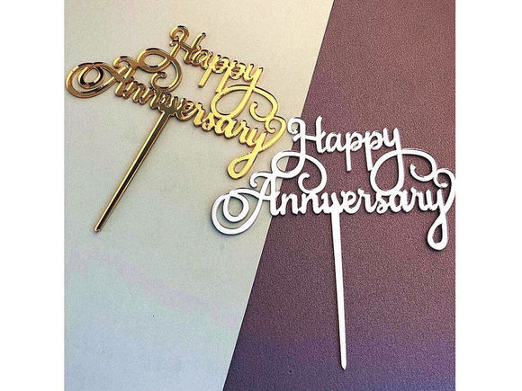 Dim Gray Happy Anniversary Acrylic Cake Topper Gold Silver For Wedding Anniversary
