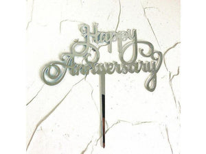Happy Anniversary Acrylic Cake Topper Gold Silver For Wedding Anniversary