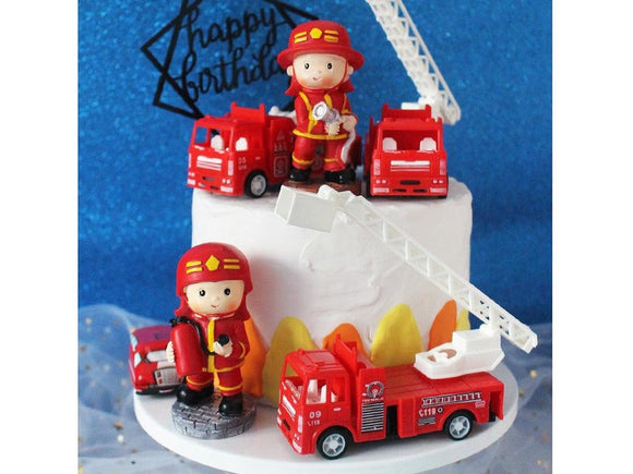 Brown Mini Fireman Hero Figurines Cake Toppers Standing Firefighter Toys Kid Happy Birthday Boy's Party