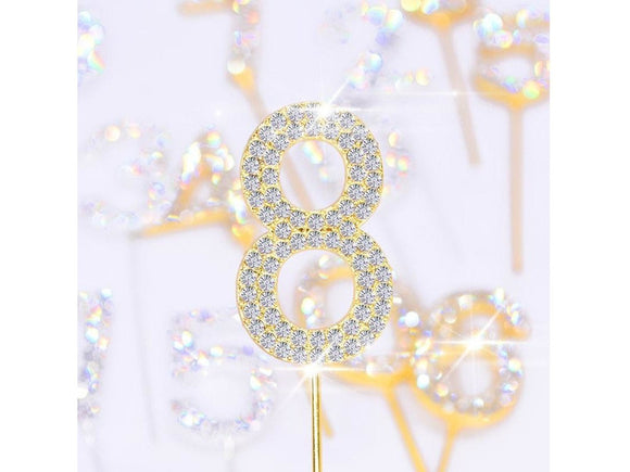 Gray Glitter Alloy Rhinestone Number Cake Topper Birthday