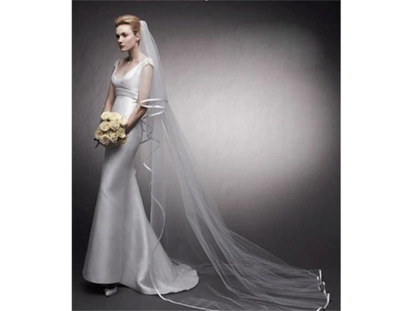 Gray White/Ivory Long Bridal Veil 3 Meters/10 ft Bridal Veil with Comb Satin Ribbon Edged