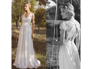 Snow Chiffon Lace Bohemian Bridal Wedding Dress V Neck Light Train Backless Full Length