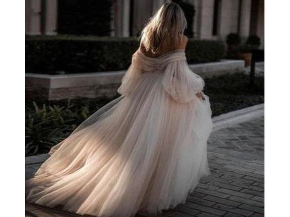 Dim Gray A-line Off the Shoulder Tulle Wedding Dress Elegant Bridal Ball Gown Custom