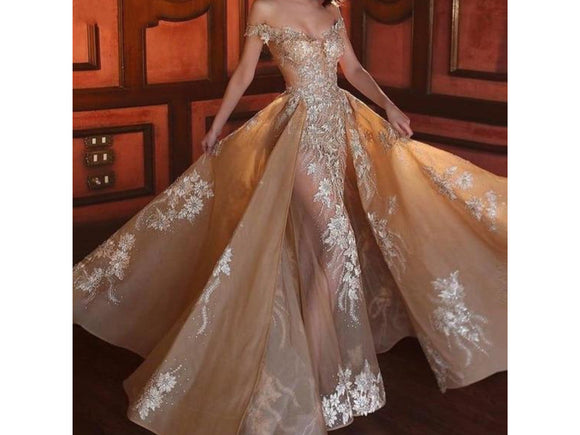 Couture Wedding Dress Removable Skirt Bridal Gown V Neck Off Shoulder Champagne Full Length with Long Applique Other Sizes and Colors, please ask