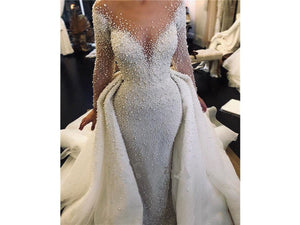 Dark Gray High Style Pearl Beaded Mermaid Wedding Dress Wedding Dress With Detachable Train Bridal Gown Form Fitting