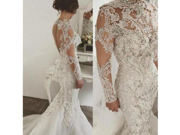 Bridal Gown Wedding Dress with Full Sleeve Appliques and White Beaded Lace Form Fitting Mermaid Style For Other Colors and Sizes. please ask