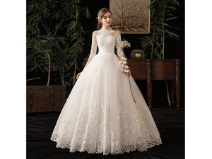 High Neck Half Sleeve Full Length Dress Illusion Lace Applique Custom Made Bridal Gown
