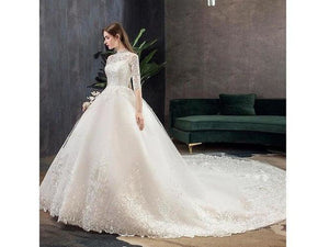 Open image in slideshow, High Neck Half Sleeve Full Length Dress Illusion Lace Applique Custom Made Bridal Gown