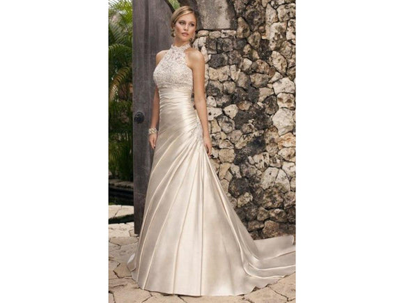 Gray Creme Halter Neckline Appliques Pleats Backless Floor Length Bridal Gown Pleats Wedding Dress Sleeveless