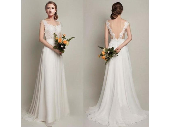 Gray Classic Lace Chiffon Wedding Dress See Through Illusion Back White Bridal Gown with Lace Appliques