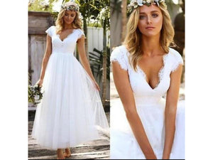 White Smoke Elegant Short Lace Tulle Wedding Dress Cap Sleeve V Neck Bohemian Beach Garden Bridal Tea Length
