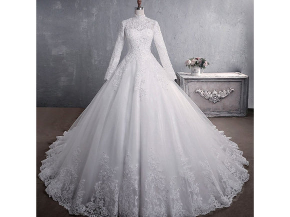 Classic Elegant Floor Length Wedding Dress Lace Appliques Long Dress High Neck Train A-line Bridal Gown