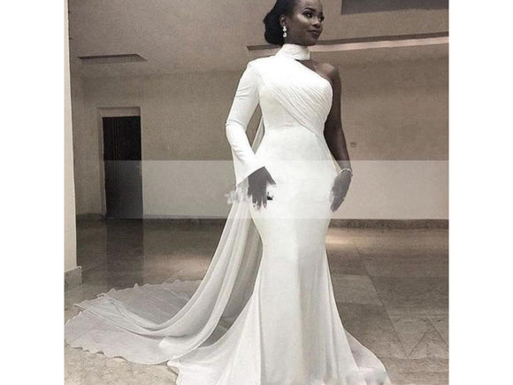 Rosy Brown Matte Bridal Dress Romantic One Shoulder White Mermaid Wedding Gown With Cloak Overlay Train Dramatic Many Colors and Sizes please ask