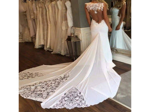 Light Gray Sleek and Elegant Lacy Mermaid Backless Wedding Dress Chiffon Appliques Stunning Bridal Gown