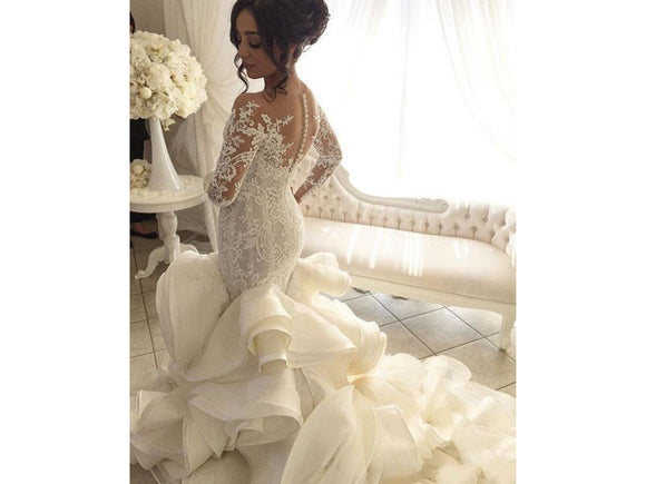 Snow Lace and Ruffles Form Fitting Mermaid Wedding Dress With Long Sleeves Wedding Bridal Gown Buttons up Back Gorgeous