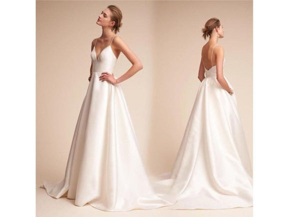 Wheat Simple White Ivory Satin Wedding Dress Deep V-neck Backless Bridal Gown Spaghetti Straps