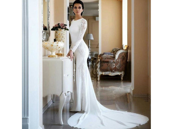 Dim Gray Elegant Wedding Dress Mermaid Bridal Gown White Ivory Lace Back Buttons Long Sleeves Other Sizes and Colors please ask