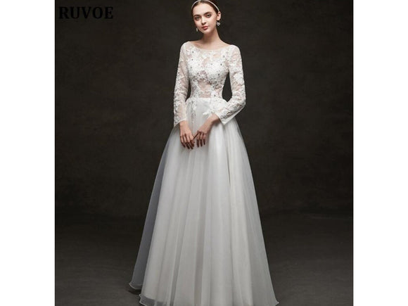 Black Long Sleeve Vintage Style Wedding Dress Embroidery Backless Plus Size Available Bridal Gown
