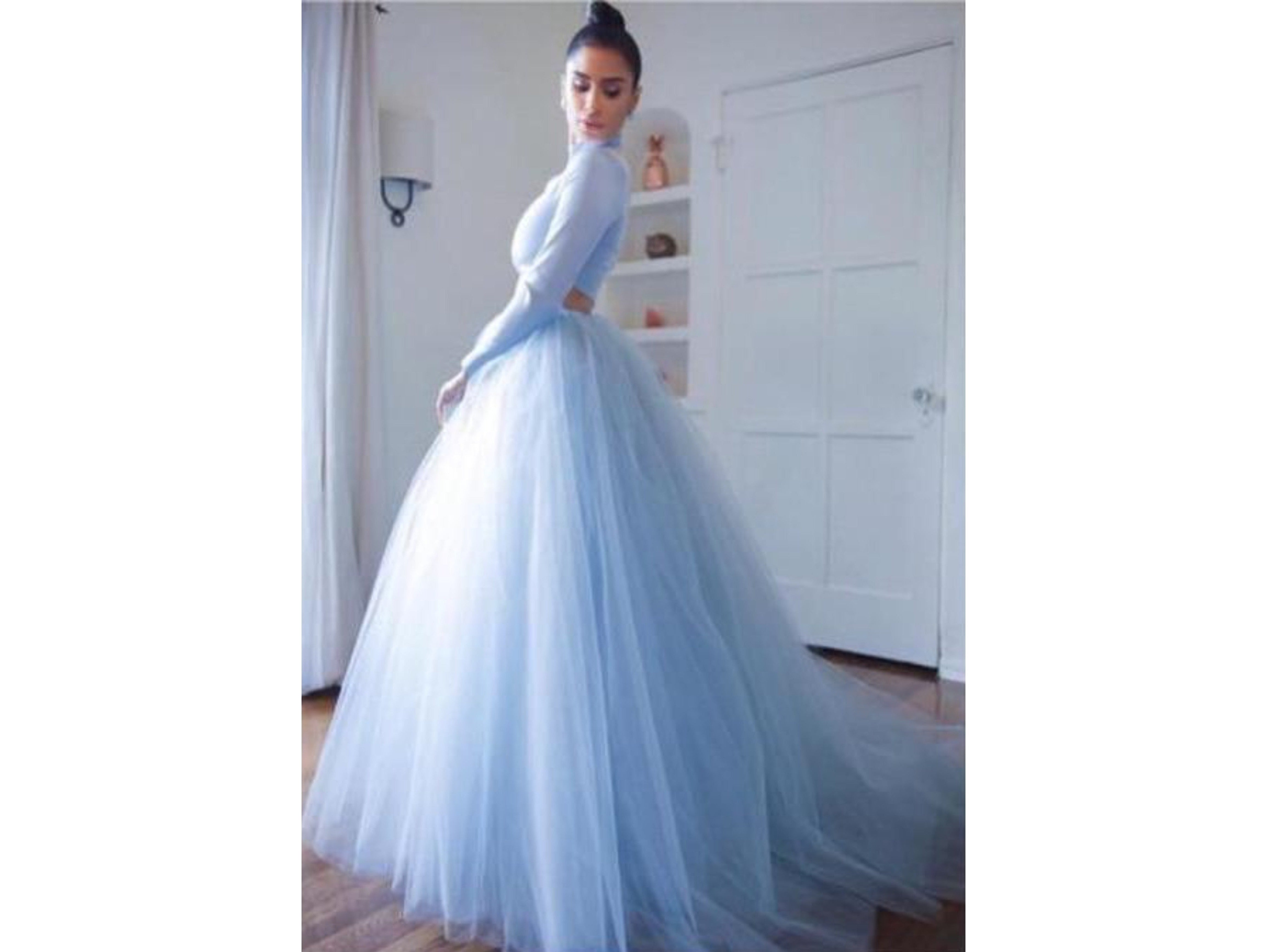 Light Blue A-line Tulle Skirt Puffy Tulle Ball Gown Bridal Custom Made Many Colors and Sizes please ask