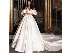 Black Charming Strapless Backless A-Line Satin Dress for Wedding Party Lantern Sleeve Bridal Gown