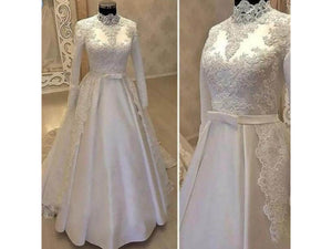 Dim Gray Luxury Woven Lace Wedding Dress Appliques High Neck Long Sleeve Bridal Gown Elegant and Sophisticated