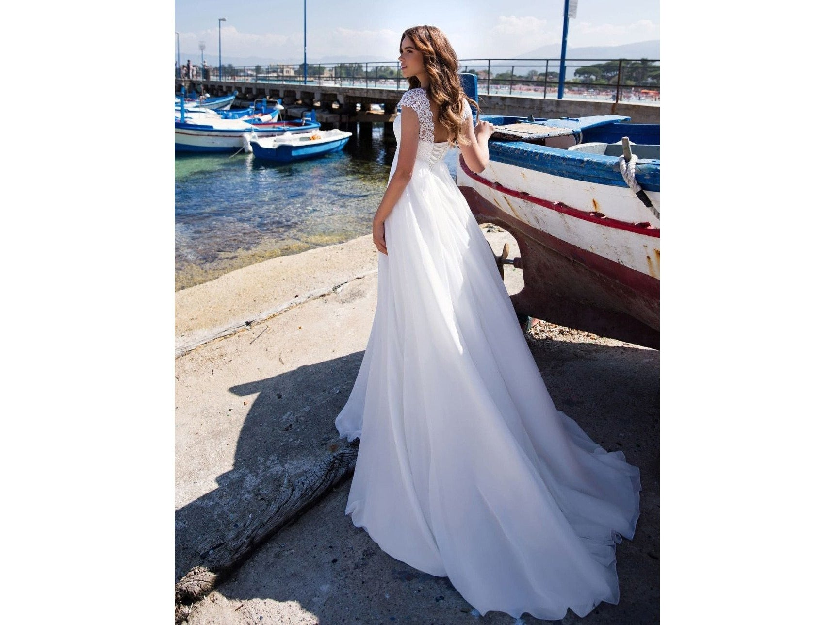 Simple Jewel Cap Sleeves Empire Waist Wedding Gown Chiffon Bridal Dress Maternity