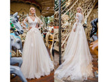Gray V-neck Champagne Tulle Dress Wedding Gown Lace Appliques Long Sleeves
