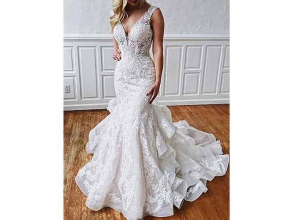 Cascading Ruffles Appliques Mermaid Style Wedding Dress V-neck Bridal Gown