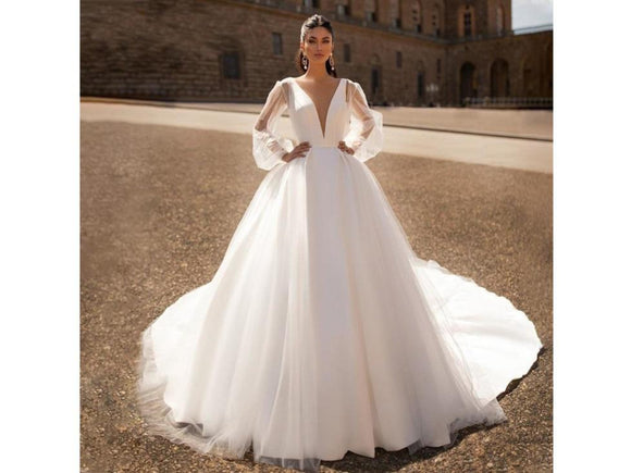 Satin Bridal Gown Wedding Dress V-neck Backless Shining Puffy Long Sleeve Vintage Style