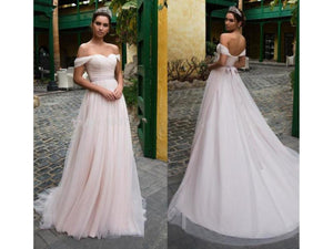 Gray Floor Length Bridal Gown Pink Blush Tulle Wedding Dress Off Shoulder Sweetheart Lace Up