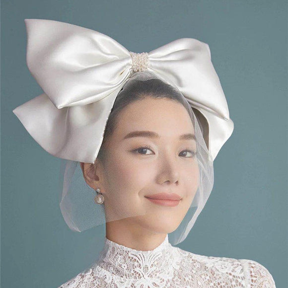Minimalist Style White Oversized Bow Hair Clip Veil face Cover Bride Headdress wedding hair accessories Wholesale