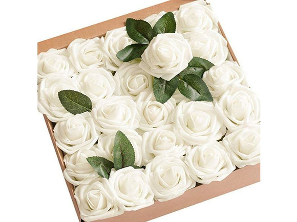 Antique White Artificial Flowers 40pcs Blush Roses with Stem for DIY Wedding Bouquets Centerpieces Bridal Shower Party Home Decorations