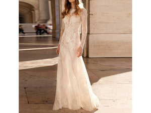 Wheat Stylish V-Neck Long Sleeve Lace Party Dress Elegant Wedding Bridal Gown Long Dress Vestidos