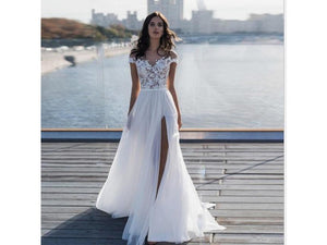 Gray Full Length Flowing Gown Lace Touches Bridal Gown Wedding Dress Deep V Wedding Evening Dress