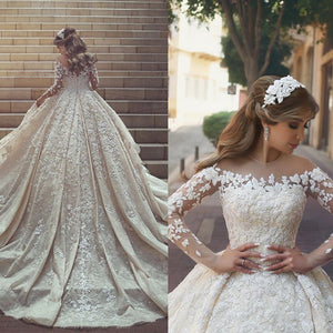 Dark Gray Luxury Beaded Floral Appliques With Veil Wedding Dress Elegant Sheer Long Sleeve Bridal Gown Robe De Mariee