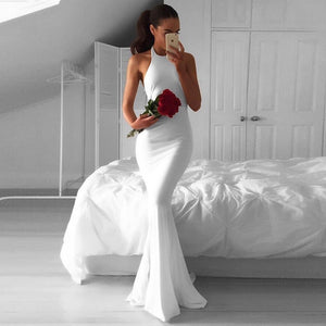 White Smoke Simple White Dress for Wedding Party Mermaid Spandex Fabric Sleeveless Open Back Halter Bridal Gown