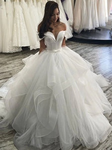 Gray Off the Shoulder A-line Wedding Dress Tiered Tulle Floor Length Gown Lace Up Plus Size Bridal Dress with Belt