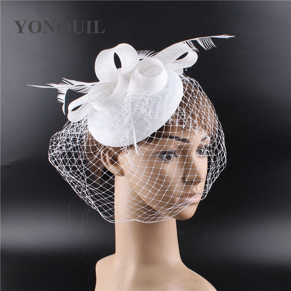 Bride wedding white headpiece elegant ladies mariage mesh fascinator hat fancy veils chapeau cap fashion church headwear womens