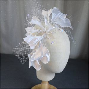 white New crepe Petals Mesh Headband Veil bow hairbands Bride Wedding Accessories Styling bride hair jewelry