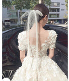 Korea Women Short Bridal Veil with Comb Net Ribbon 2 Layers Cut Edge for Bride Party Wedding Veil