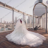 Chic Design A-Line White -(other colors) Bridal Tulle Dresses For Women Tiered Puffy Long Wedding Dress Elegant V-neck Big Train Ball Gown