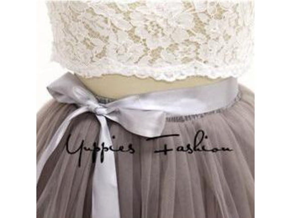 Gray [Custom Made] 7 Layers 110cm/3.5 ft Long Tulle Skirt Pleated Wedding Bridal Skirt Petticoat