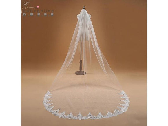 Rosy Brown One Layer Lace Edge Cathedral Bridal Veil Long