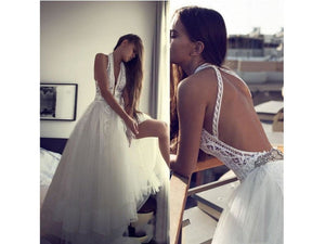 Dim Gray Romantic Boho Wedding Gown Backless Halter Chic Bridal Lace Plus Tulle V-Neck