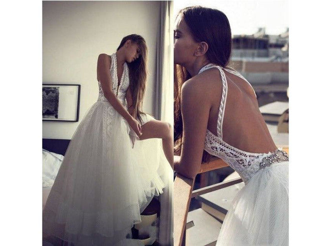 Romantic Boho Wedding Gown Backless Halter  Chic Bridal Gown Lace Plus Tulle V-Neck