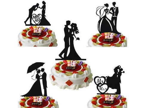 Black Customised Mr & Mrs Love Heart Cake Topper Bride Groom Wedding Reception Party Cake